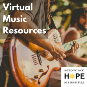 """Person playing electric guitar, visible from the shoulders to waist. Label says """"Virtual Music Resources"""""""